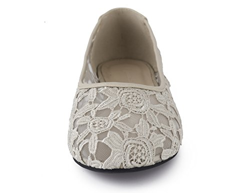 Greatonu Cut Lace Ballet On Beige Flats Women Slip Shoes Out Synthetic TqxTOr1