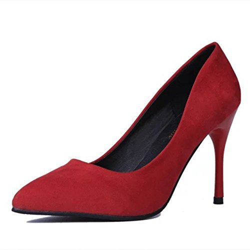shoes A Women's Pointed thin Fine heels Suede High xwqWCaYqr0