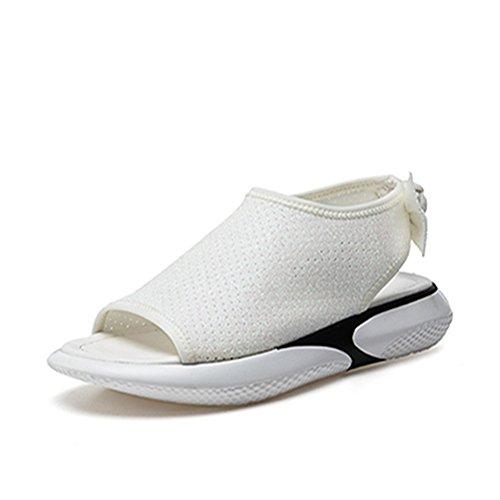 [HR株式会社] 厚底サンダル レディース 歩きやすい スポーツサンダル オープントゥ ファッションサンダル 厚底靴  ヒール  約4cm 蝶結び  マジックテープ  美脚 おしゃれ 身長UP