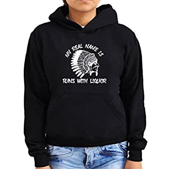 My Real Name is Runs With Liquor Women Hoodie