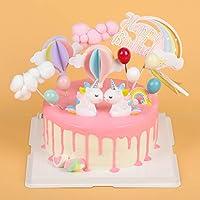 EKKONG Cake Topper Unicornio, Decoraciones de Pasteles cumpleaños 14 Piezas para la Fiesta de la Fiesta de Bienvenida al bebé cumpleaños niñas Niños ...