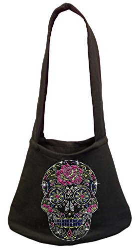 Rhinestone Skull Sweatshirt - Rhinestone Sugar Skull Purse Shoulder Bag Black (One Size, Black)