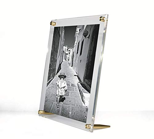Diamond Polished Beveled Edge Framing Grade Acrylic Tabletop Floating Frame with Gold Hardware for 8x10-Inch Art & Photos ()