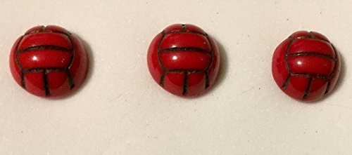 Red Glass Buttons with shank 7/16