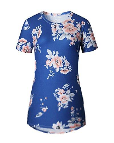 Auxo Mini Vestidos 50's Flores Halter Camiseta Mujer Blusas Larga sin Mangas Max Tops Azul3