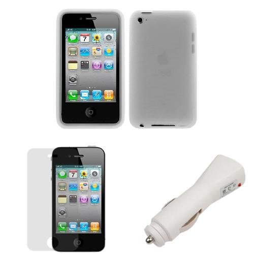 GTMax White USB Car Charger + Clear Silicone Skin Soft Cover Case + LCD Screen Protector for Apple iPod Touch 4th Generation