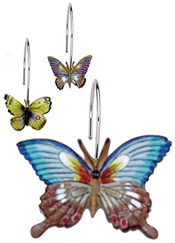 Carnation Home Fashions PHP-MAR Mariposa Resin Shower Curtain Hooks Set of 12 [Home], Multicolor -