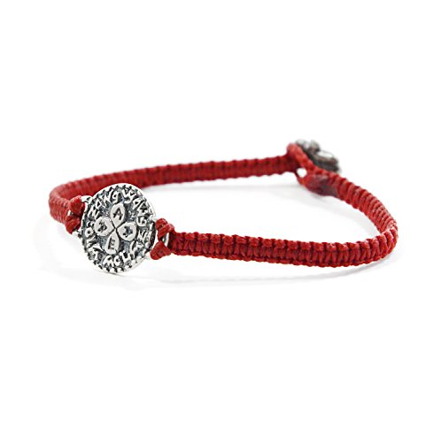MIZZE Made for Luck Red Macrame Wax Cotton Bracelet with Silver Solomon Seal Love Charm for Women
