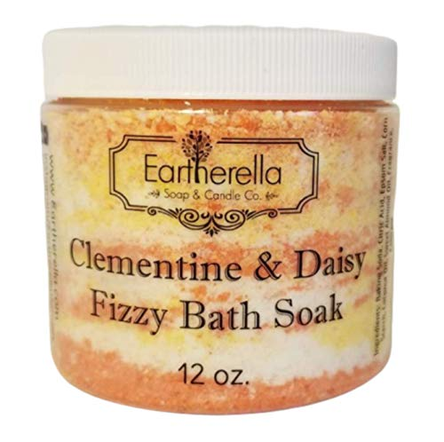 (Luxurious relaxing CLEMENTINE & DAISY scented Fizzy Bath Soak with Epsom salts, Large 12 oz jar)