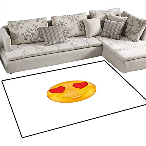 Love Bath Mats Carpet Cartoon Smiley Face Hearts for Eyes Emoticon Adoration Romantic Illustration Door Mats for Inside Non Slip Backing 40