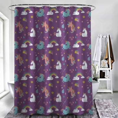 "ZXAWT Brand Waterproof Bathroom Shower Curtains Pony Pose Pattern(48"" W x 72"" H)"