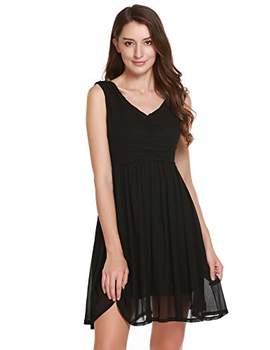 A-line Black Chiffon (BEAUTYTALK Women's Chiffon Summer Sleeveless V-Neck A-Line Pleated Party Cocktail Dress Black M)