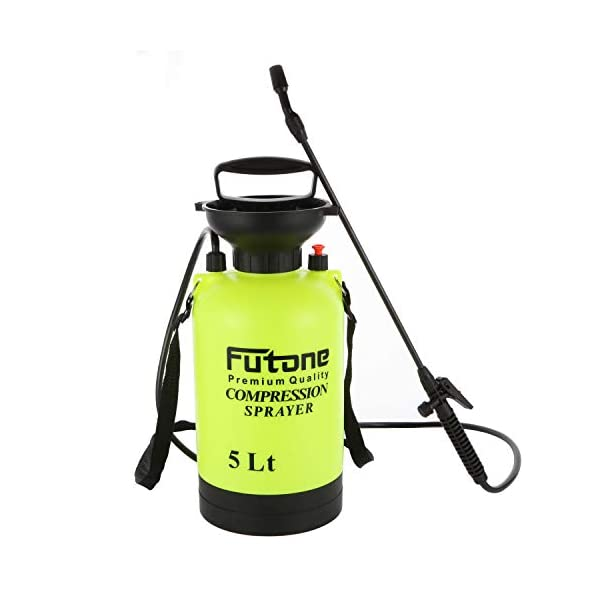 Futone 1.3 Gallon Garden Sprayer Water Pump Pressure Sprayers with Rod Handle and Adjustable Shoulder Strap for Lawn and Garden – (5.0L Lime Yellow)