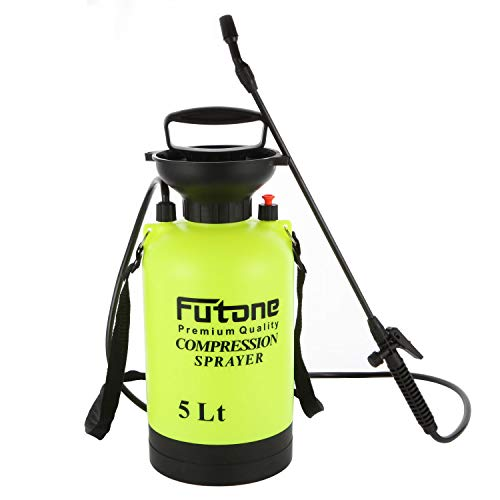 Futone 1.3 Gallon Garden Sprayer Water Pump Pressure Sprayers with Rod Handle and Adjustable Shoulder Strap for Lawn and Garden - (5.0L Lime Yellow)