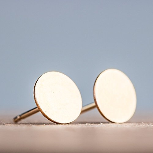 Round Circle Disc Stud Earrings in 14K Yellow Gold Fill – Smooth and Flat 7mm Nail Head Posts