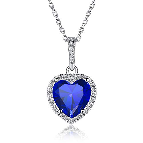(Heart Necklace Love Blue Sapphire September Birthstone Necklace Sterling Silver Gemstone Pendant Jewelry Gifts for Women Girl)