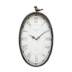 Stratton Home Decor SHD0009 Antique Oval Clock, 10.75 W X 2.25 D X 19.25 H, Gunmetal