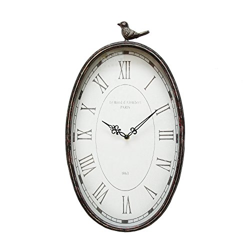 Stratton Home Decor SHD0009 Antique Oval Clock, 10.75 W X 2.25 D X 19.25 H, Gunmetal ()