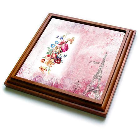 (3dRose lens Art by Florene - Vintage Floral Art - Image of Victorian Flowers On Pink With Eiffel Tower Paris Sign - 8x8 Trivet with 6x6 ceramic tile (trv_309476_1))