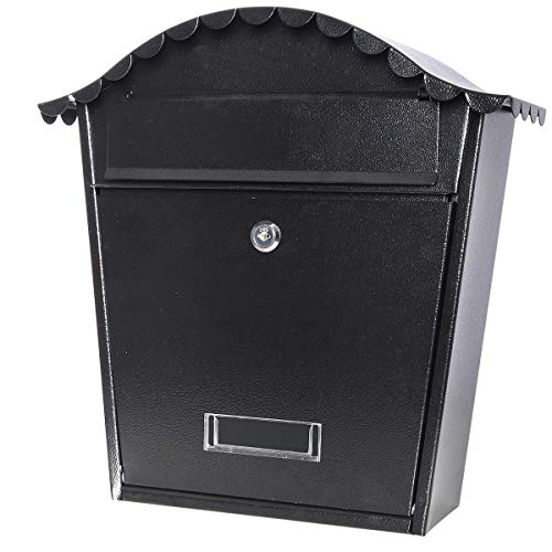 (Locking Mailbox Wall Mounted Vertical- Jssmst Mail Boxes Large Capacity, 14.6 x 5.4 x 13.2 Inch, Black New)