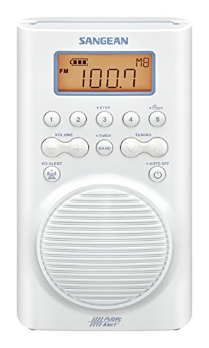 Sangean AM/FM Weather Band Emergency Waterproof Shower Clock Radio With Large easy to read LCD Display