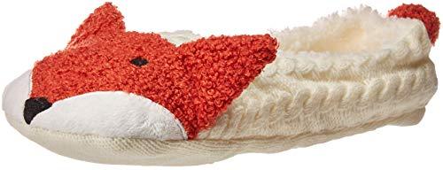 HUE Women's Fluffy Slipper Shue Sock with Grippers, Ivory - Fox, - Hue Socks Slipper