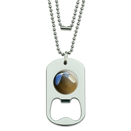 GRAPHICS & MORE White Egret in Flight Military Dog Tag Bottle Opener Pendant ()