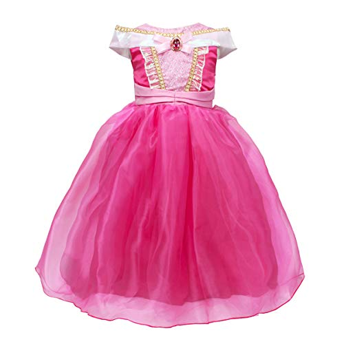 FYMNSI Kid Toddler Girls Sleeping Beauty Princess Dress Halloween Cosplay Party Dress Fancy Festival Dress Up Costume Hot Pink 18-24M]()
