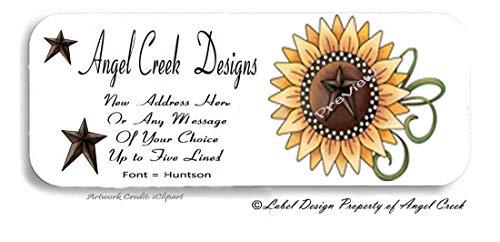 60 Primitive Star Giant Sunflower Personalized Return Address Labels ()