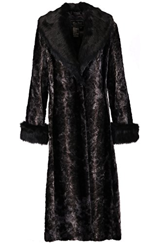 Chic de ala pieles longitud completa Ovonzo Negro falso de visón cuello Negro con de abrigo Mujeres n0CnqxwW6