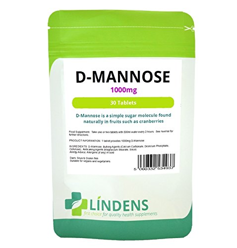 Lindens D-Mannose D Mannose DOUBLE PACK 1000mg 60 Tablets dMannose Best Quality