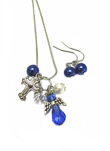 Linpeng NE-3061E Fiona Crystal Beaded Angel, Cross Charms, Pearl Crystal Dangles Necklace and Earrings Set