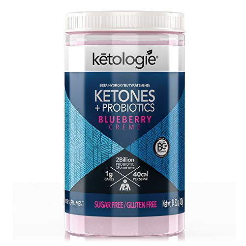 Ketologie Exogenous Ketones + Probiotics   Beta Hydroxybutyrate (BHB) Salt Powder for Keto Diet   May Increase Energy, Focus & Fat Burn   30 Servings (Blueberry Creme)