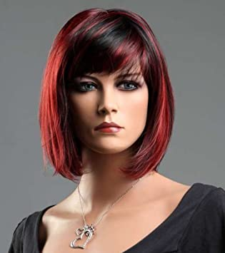 Kalyss Kurz Weiblich Schwarz Rot Glatt Gerade Bob Haarschnitt Perücke Frau Mischfarbe Haar Wigs