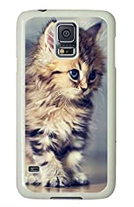 White Fashion Case for Samsung Galaxy S5,PC Case Cover for Samsung Galaxy S5 with Cute Cat