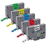 Tze Tape 12mm 0.47 Laminated White, Unismar P-Touch Label Tape Compatible TZe-231 TZe-431 TZe-531 TZe-631 TZe-731 Use for Brother PT-D200 PT-D210 PT-D400 PTD400AD PT-D600 (1/2″ x 26.2′, 12mm x 8m)