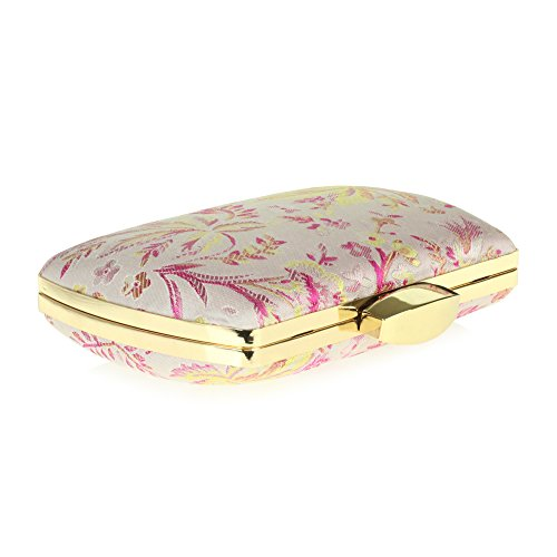 Case Hard bag Hand Minaudiere Patterned Evening Women Pink Ladies tqPExUWw1