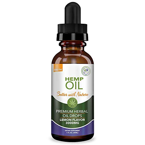Hemp Oil 3000mg Lemon Flavor for Help with Stress Health & Pain Relief :: Anti-Anxiety, Inflammation, Sleep, Nausea, Depression :: MCT Oil Packed with Omega 3,6 Fatty Acids :: Anti-Inflammatory