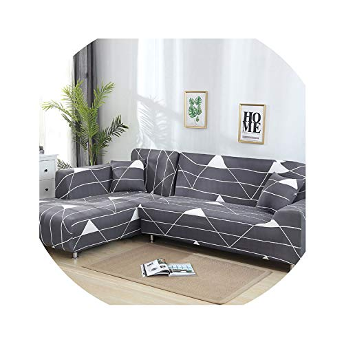 L Shaped Sofa Cover Stretch Sectional Couch Cover Sofa Set Sofa Covers for Living Room housse canape slipcover 1/2/3/4 Seater,Color 13,3-Seater(195-230cm)