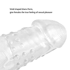Silicone Dild¨° Vibrat¨°r(US) xd89-b1 Condom Extender, James Crystal Soft Silicone Penis Extender Enlarger Sleeve Condom Sexual Delay Ejaculation Toy for Men (Lengthen 70MM) (Clear)