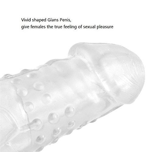 Sandy(US) NEW30333mm-02 Condom Extender, James Crystal Soft Silicone Penis Extender Enlarger Sleeve Condom Sexual Delay Ejaculation Toy for Men (Lengthen 70MM) (Clear)