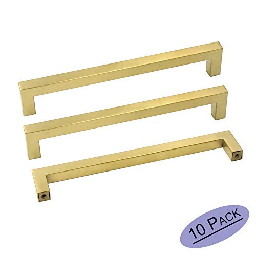 goldenwarm Brass Kitchen Cabinet Hardware Gold Drawer Pulls 10 Pack - LSJ12GD192 Square Cupboard Bathroom Door Handles Brushed Brass Pulls for Cabinets 7-1/2in Center to Center