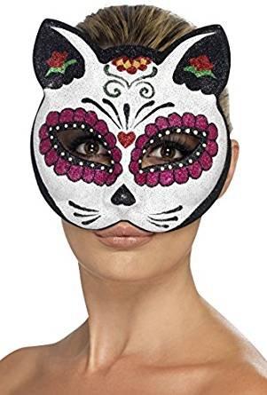 Smiffy's Sugar Skull Cat Eyemask, White / Black / Pink, One Size ()