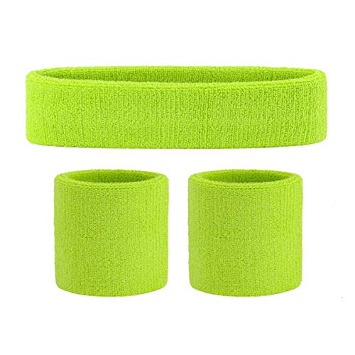 OnUpgo Kids Sweatbands Headband Wristband Set - Athletic Cotton Sweat Band for Sports (1 Headband + 2 Wristbands) (Neon Green)