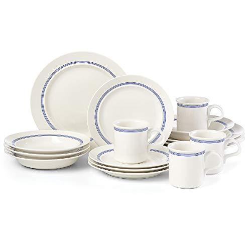 Dansk Café Blanc Stripe Dinnerware Set of 16