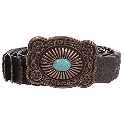 "1 1/4"" Rectangular Rhinestone Turquoise Embossed Engraved Western Floral Sequent Metal Stretch Belt"