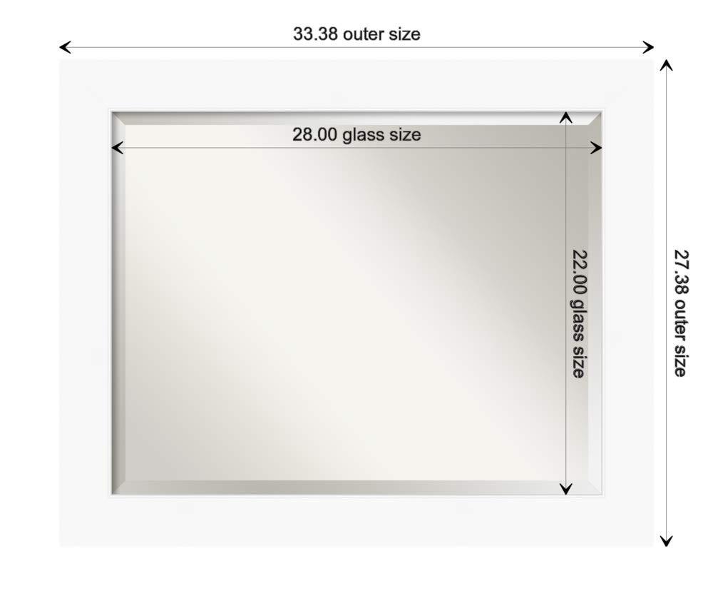 Amanti Art Framed Vanity Mirror | Bathroom Mirrors for Wall | Cabinet White Mirror | Wall Mounted Mirror | Medium Mirror | 27.38 x 33.38 by Amanti Art