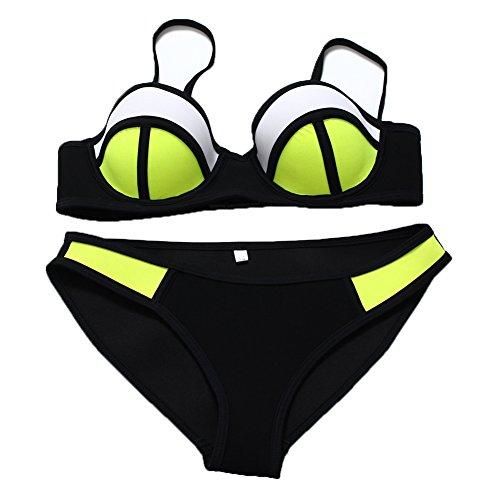 Bikini Traje de Baño IHRKleid® Ropa de Baño Bañador mujer de 2 Piezas con Apoyo de Aros de Acero en Sujetador Negro