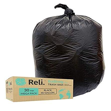 Reli. EcoStrong 55 Gallon Trash Bags (30 Count) Eco-Friendly...
