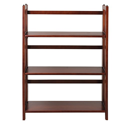 Casual Home 3-Shelf Folding Stackable Bookcase (27.5″ Wide)-Walnut